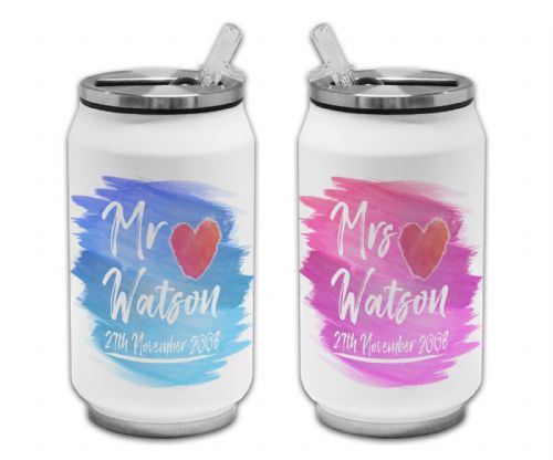 Pair of Personalised Mr & Mrs Anniversary - Paint Brush Thermos Drinking Can